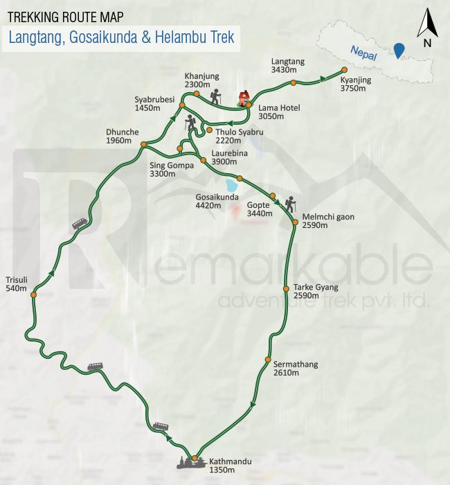 Langtang, Gosaikunda & Helambu Trek Trip Map, Route Map