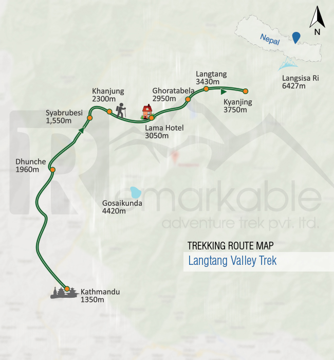 Langtang Valley Trek Trip Map, Route Map