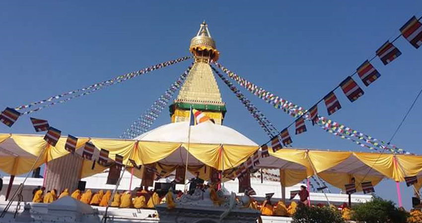 Buddhist Stupa with the pryar flags in Baudhha, Kathamandu